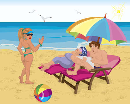 Vector illustration of a married couple under umbrella on the beach and young girl saying hello