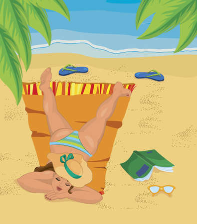 Vector illustration of a young woman napping on the beach under palm tree leaves Vector