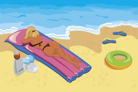 Vector illustration of a young woman sunbathing  on the beach