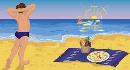 romance: Couple on the beach having pizza at night  vector illustration
