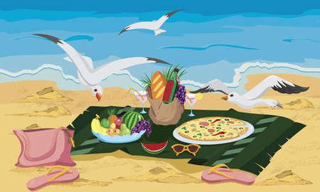 갈매기는 해변의 벡터 일러스트 레이 션에 음식의 왼쪽을 훔치기 위해 노력하고 있습니다