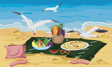 Seagulls are trying to steal food left on the beach vector illustration