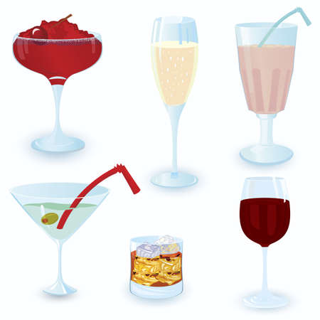 Vector illustration of cocktail icon set on white background  Vector