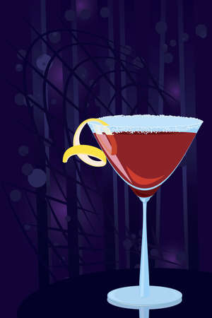 cosmopolitan: Vector illustration of cosmopolitan cocktail on night disco background