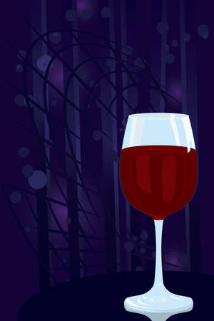 Vector illustration of glass of red wine on night disco background Stock Vector - 12481186