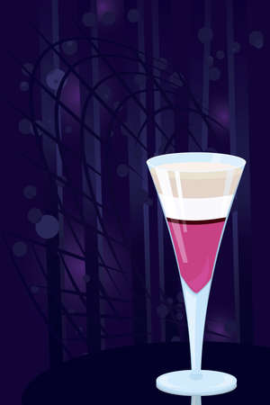 baileys: Vector illustration of layered  cocktail on night disco background