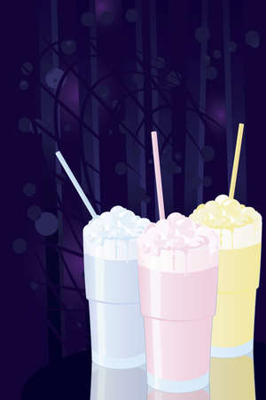Vector illustration of milkshakes on night disco background Stock Vector - 12481193