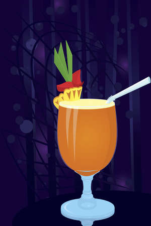 Vector illustration of pineapple cocktail on night disco background