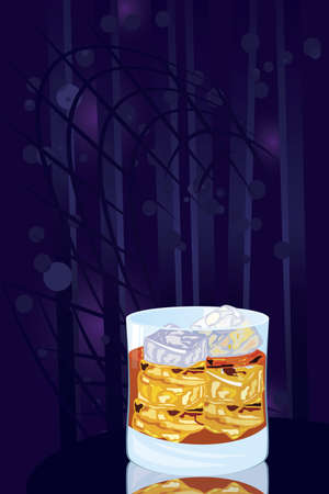 Vector illustration of scotch on rocks cocktail on night disco background