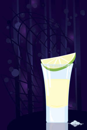 glass reflection: Vector illustration of tequila cocktail slice of lime and some salt on night disco background