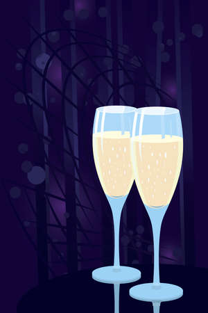 Vector illustration of two champagne glasses on night disco background Stock Vector - 12481189