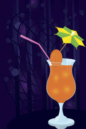 toothpick: Vector illustration of a cocktail decorated with umbrella toothpick on night disco background