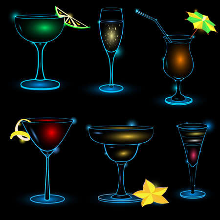 Vector illustration ofneon cocktail icon set on black background