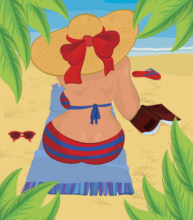 Woman is sitting on the beach under palm tree vector illustration