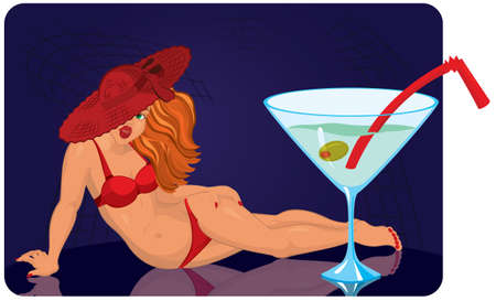 lying in: Young woman in red hat is lying near giant cocktail vector illustration