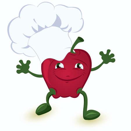 Apple cartoon character in chef hat vector illustration
