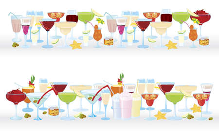 Vector illustration of cocktail borders horizontal