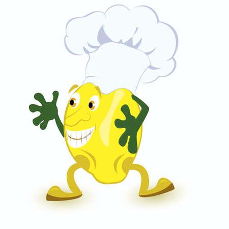 limon caricatura: Lim�n personaje de dibujos animados en la ilustraci�n vectorial sombrero de cocinero