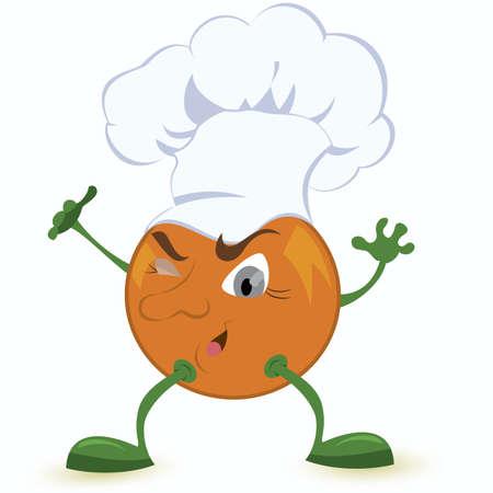 Orange cartoon character in chef hat vector illustration Vector