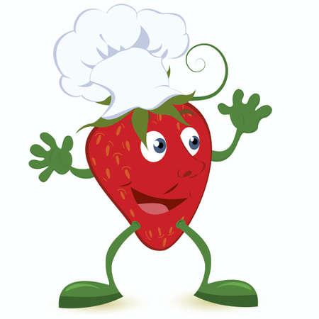 frutas divertidas: Personaje de dibujos animados de fresa en la ilustraci�n vectorial sombrero de cocinero