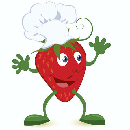 vegetable cook: Strawberry cartoon character in chef hat vector illustration