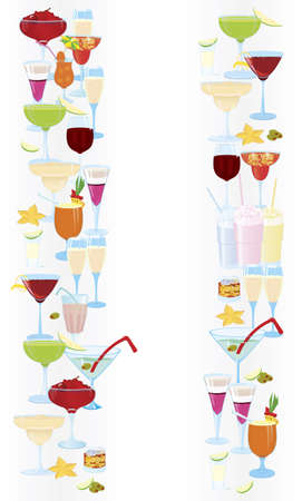 sugar cube: Vector illustration of cocktail borders vertical