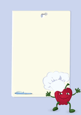 Apple cartoon character near  menu board vector illustration Ilustração