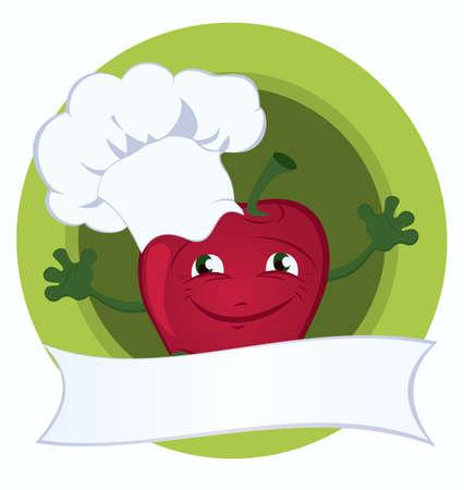 Apple cartoon character with promo ribbon vector illustration Vector