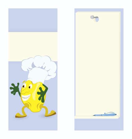 Lemon cartoon character card template vector illustration