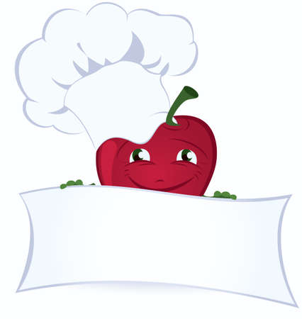 vegetable cook: Apple cartoon character is holding promo board vector illustration  Illustration