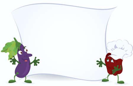 aubergine: Aubergine und Paprika in Kochm�tze halten Promotion Board Vektor-Illustration