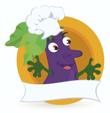 Eggplant cartoon character with promo ribbon vector illustration   Ilustração