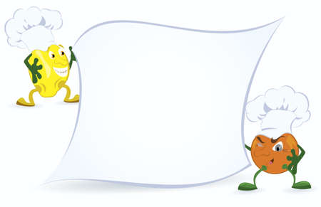 Lemon and orange in chef hat are holding promotion board vector illustration Vettoriali