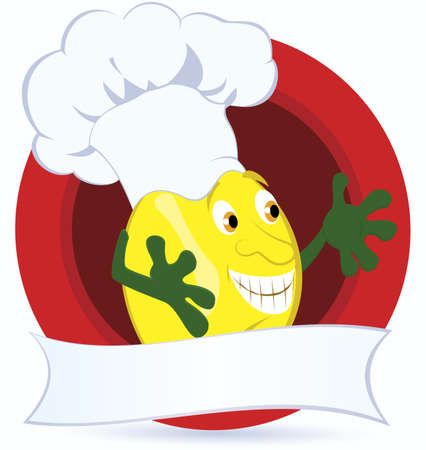 Lemon cartoon character with promo ribbon vector illustration