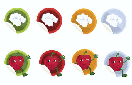 Set of vector stickers with chef hat and apple on white background   Vector
