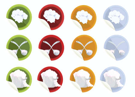 Set of vector stickers with chef hat big spoon pot on white   background  Ilustrace