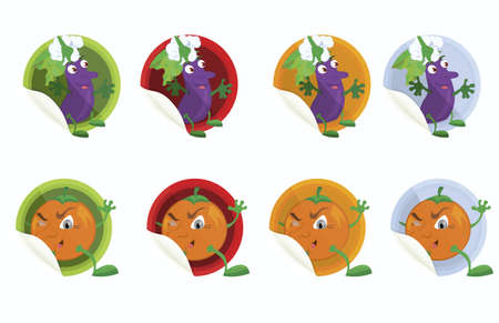Set of vector stickers with eggplant and orange  on white background   Vector