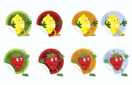 Set of vector stickers with lemon and strawberry on white   background  Vector