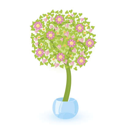Vector illustration of a tree with pink flowers growing in crystal bowl Illustration