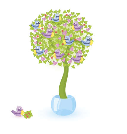 Vector illustration of a tree with blue and purple birds  growing in crystal bowl Stock Vector - 12865930