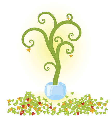 fallen: Vector illustration of a tree with fallen leaves  growing in crystal bowl Illustration