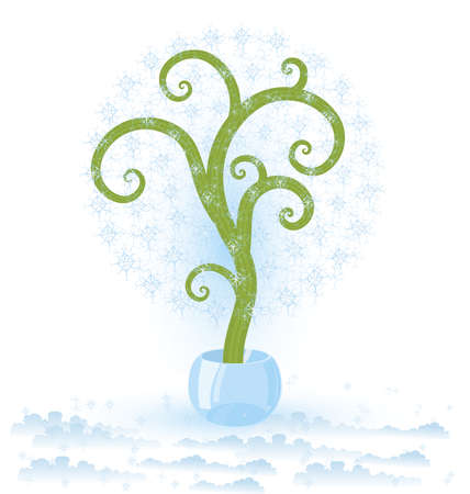 Vector illustration of a tree with snowflakes  growing in crystal bowl Vectores