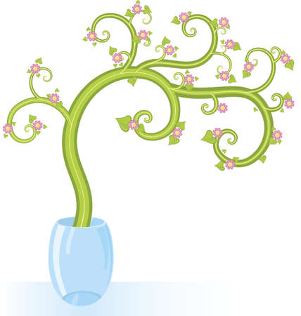 Decorative tree pink flowers with copy space vector illustration