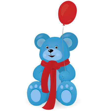 Blue Teddy bear with red balloon vector illustration on white