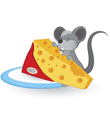 Cartoon mouse with cheese vector illustration on white background  Ilustracja