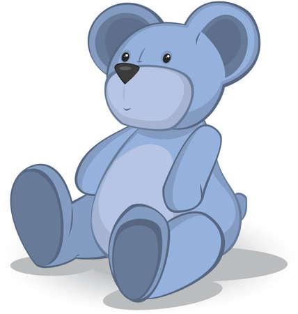Blue Teddy beer vector illustratie op witte Stock Illustratie