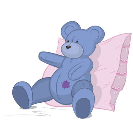 Blue Teddy bear on pink pillow vector ..illustration on white. Reklamní fotografie - 13401561