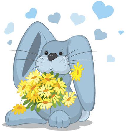 Blauw konijn met daisy bloemen vector illustratie op wit