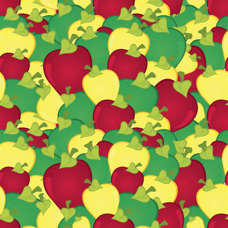 Apples seamless pattern illustration   Vector