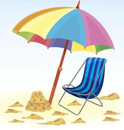 Beach umbrella chair sand castle illustration